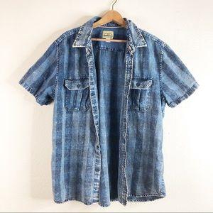 🌿Roebuck &Co Plaid Denim Stonewashed Button Shirt